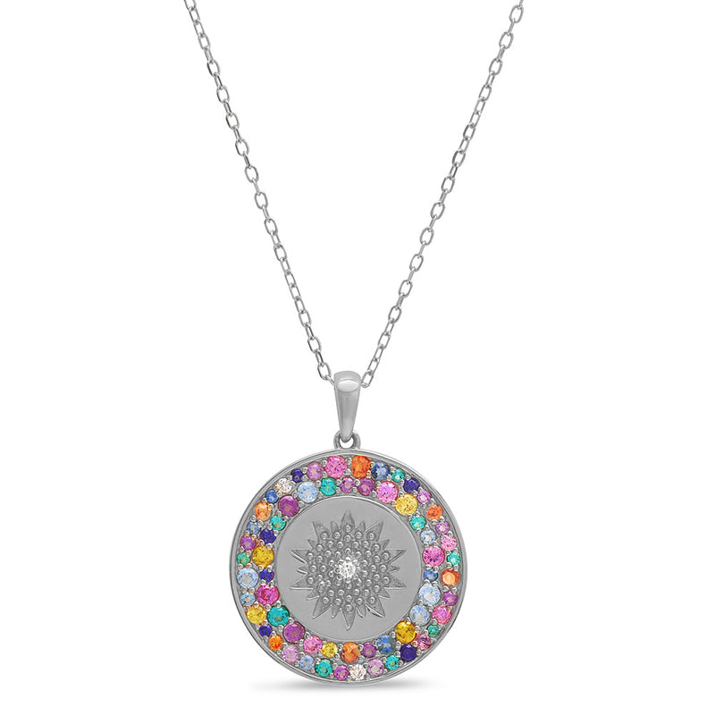 Multi Color Starburst Medallion Necklace