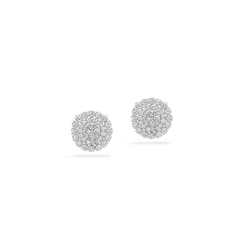 14k solid gold diamond stud earring fancy design