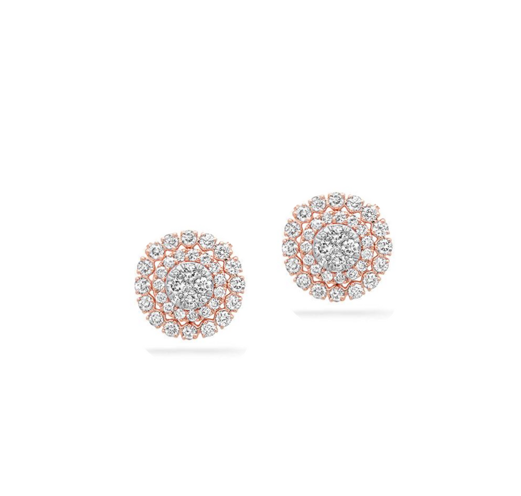 rose gold classic diamond stud earrings with halo and jacket 14k