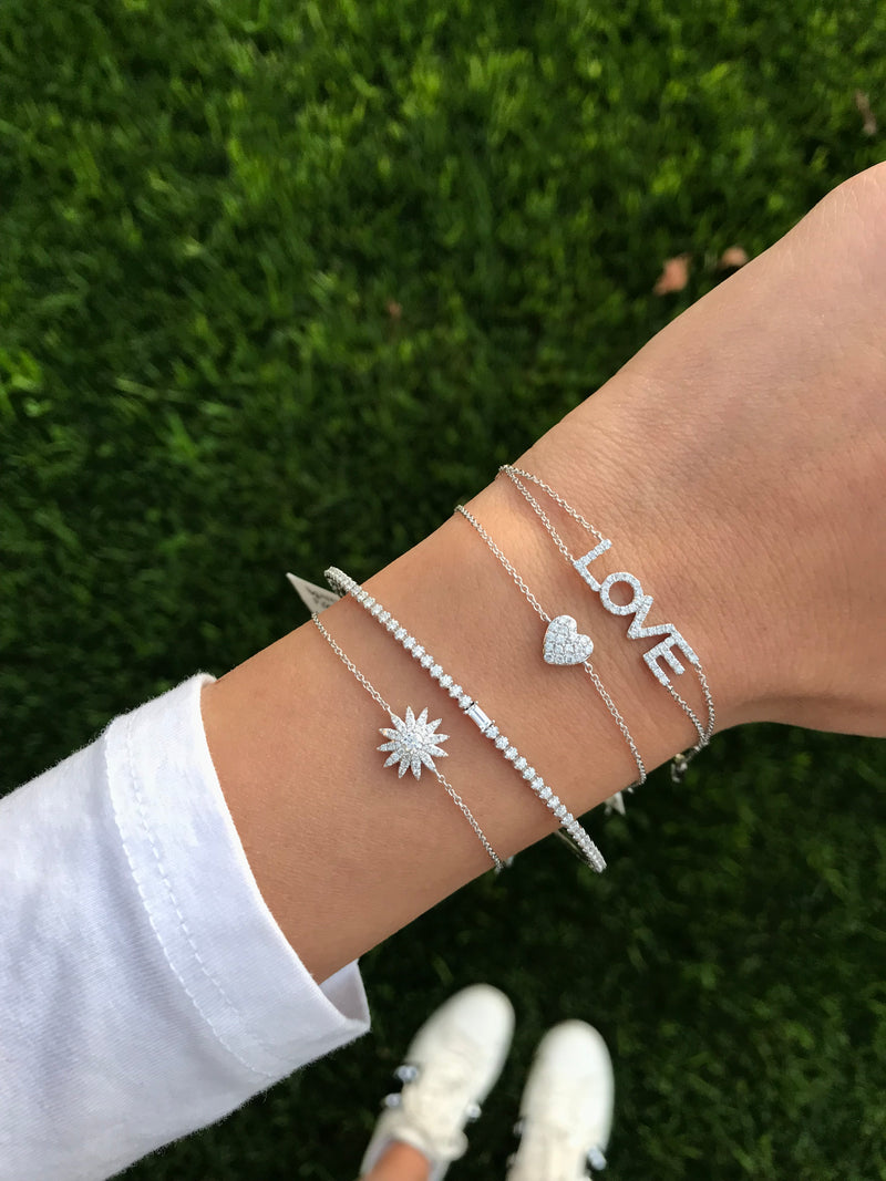 14k white gold layering bracelets starburst love