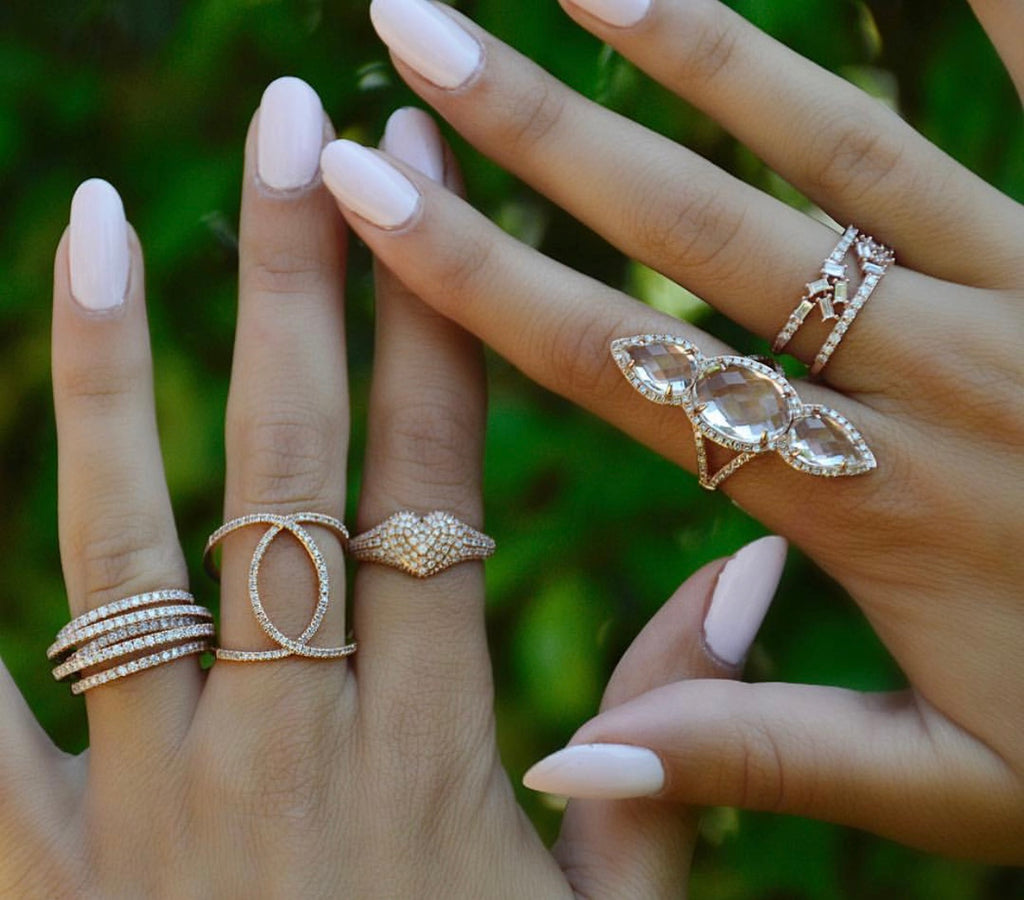 dainty rose gold diamond stacking rings