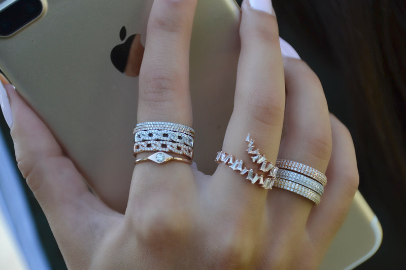 Double Row Ribbon Baguette Band Ring