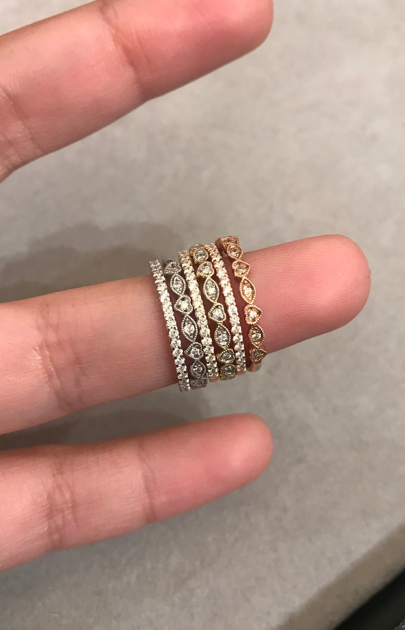 dainty stacking diamond jewelry rings