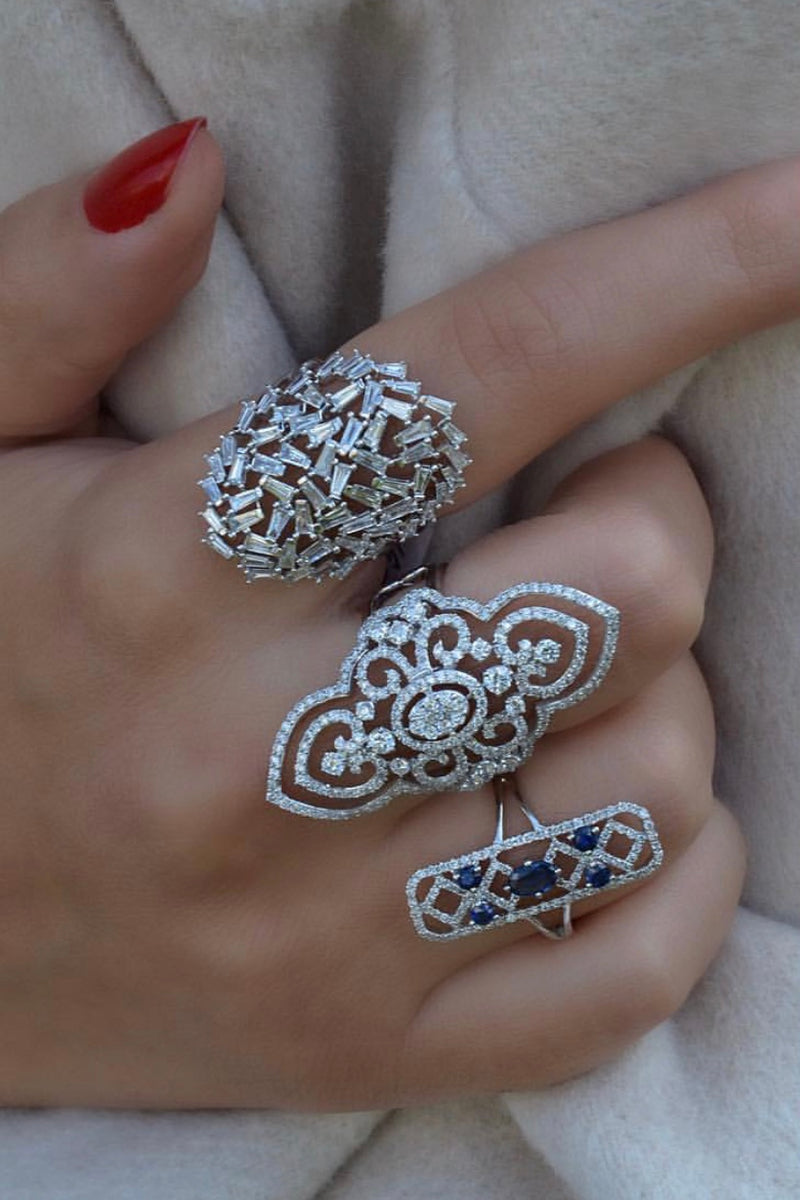 Large Diamond Lace Baguette Ring
