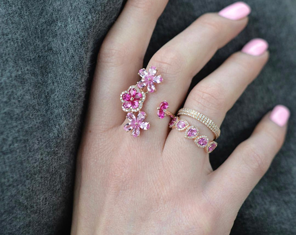 Diamond Floral Open Branch Ruby Ring