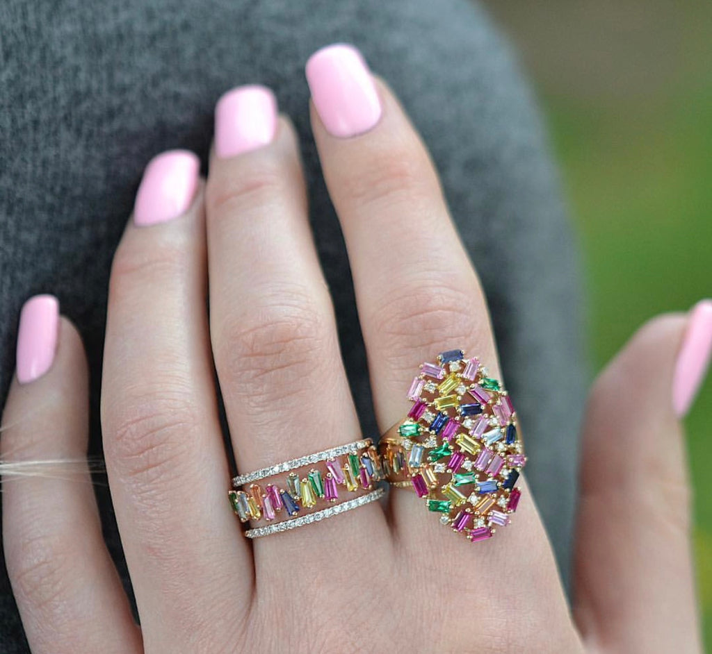 Diamond Multi Color Baguette Oval Ring