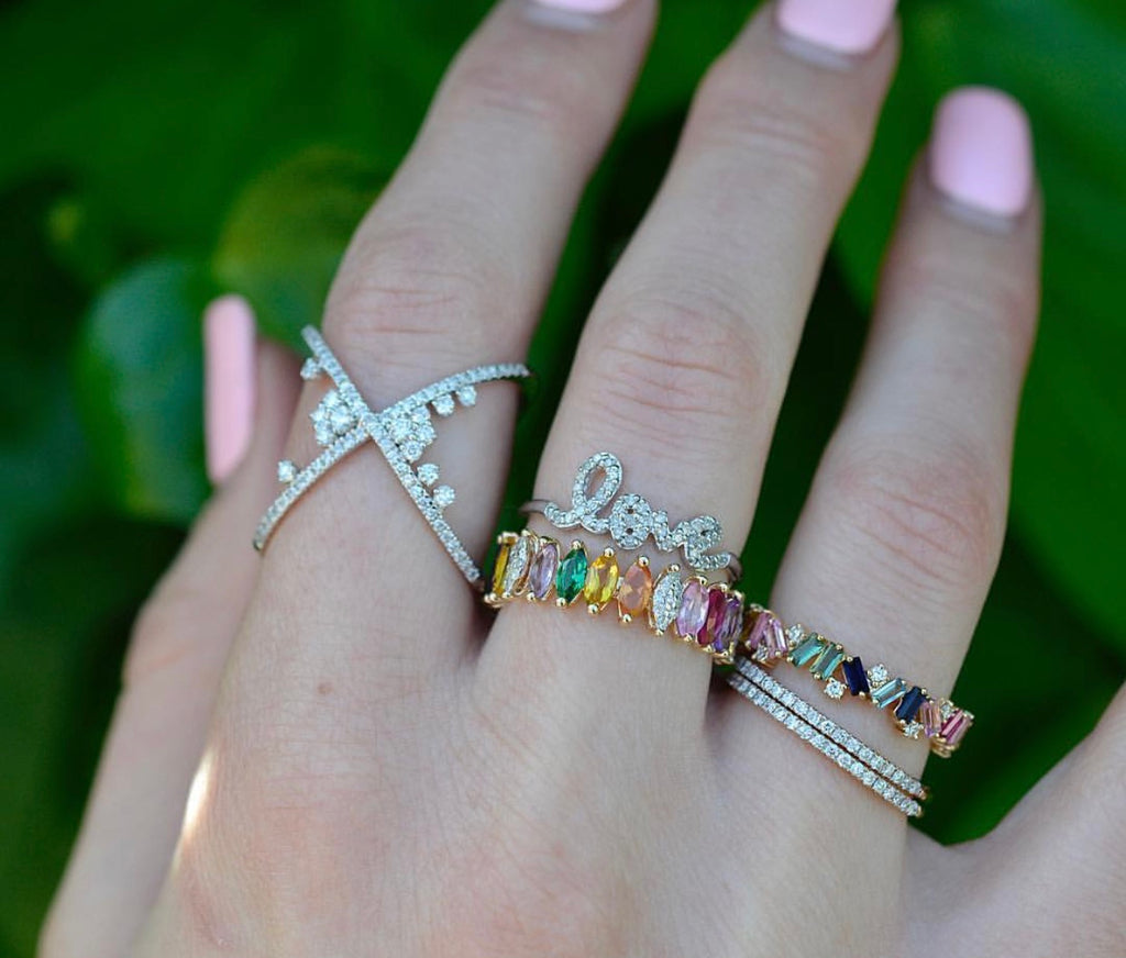 Baguette and Diamond Multi Color Eternity Band