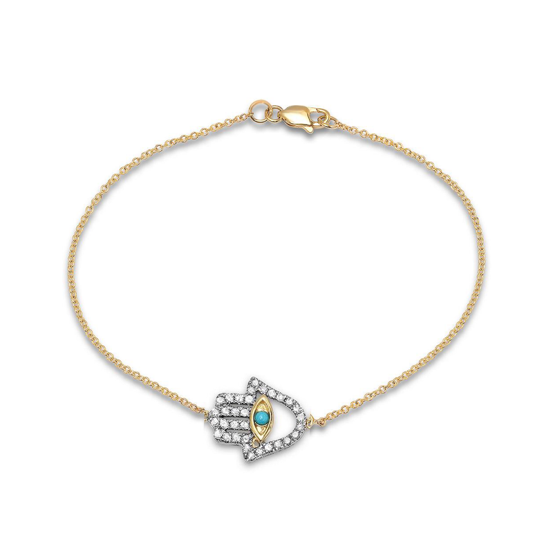 Hamsa Turquoise and Diamond Bracelet