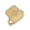 yellow gold diamond star signet ring