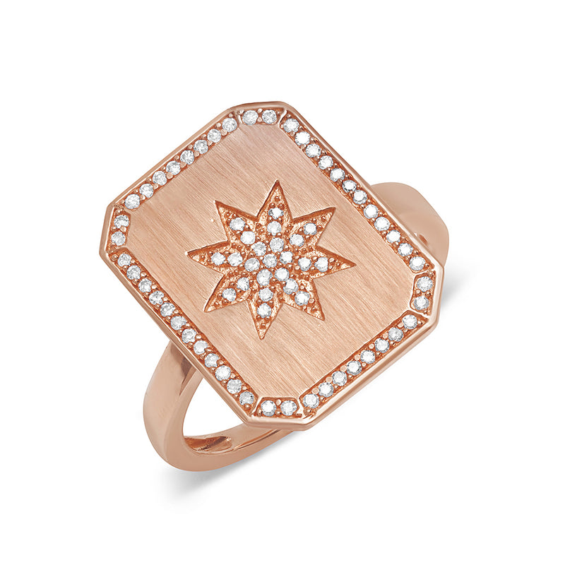 rose gold stacking diamond dainty signet ring with star starburst