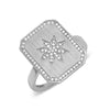 14k white gold genuine diamond signet ring