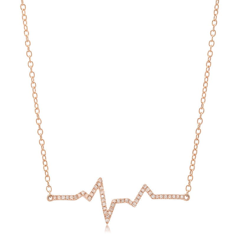 diamond heartbeat ekg necklace