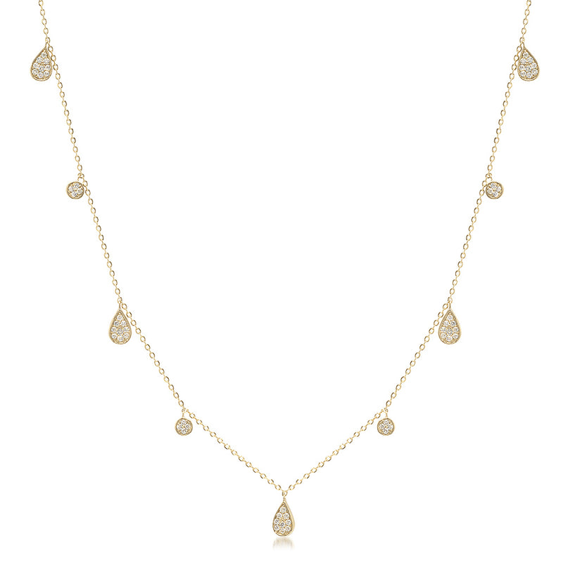 Diamond Teardrop Droplet Necklace