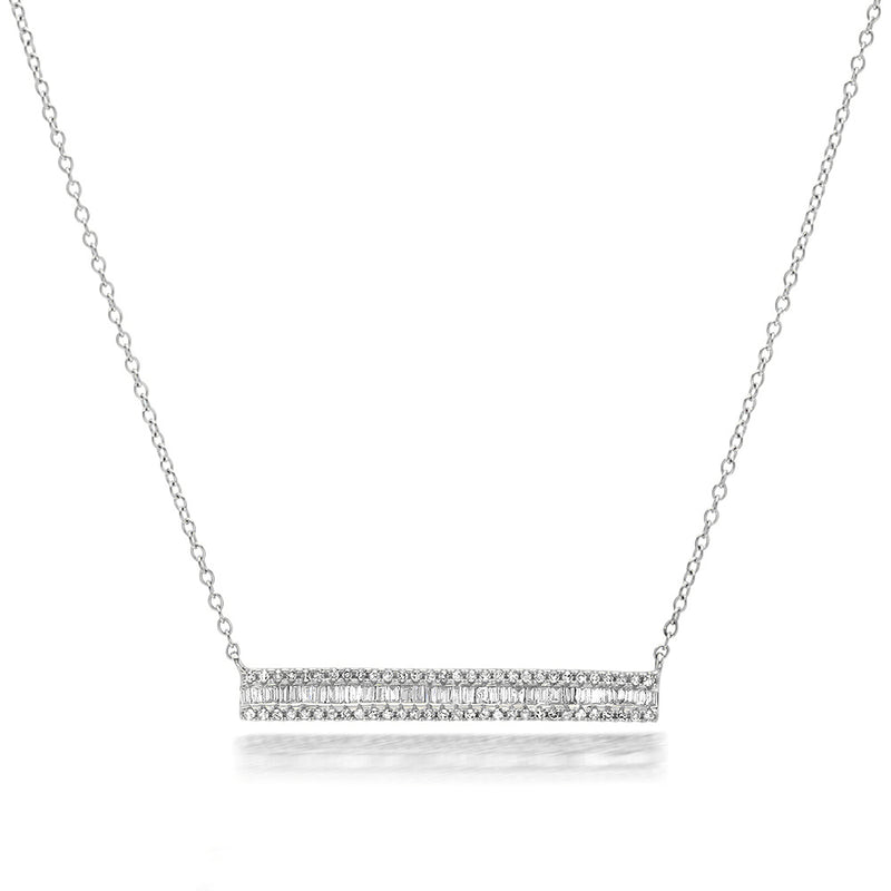 Diamond and Baguette Rectangle Bar Necklace