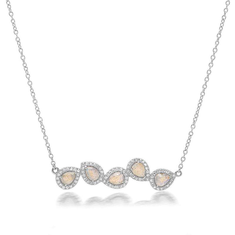 Diamond Multi Moonstone Leaf Necklace