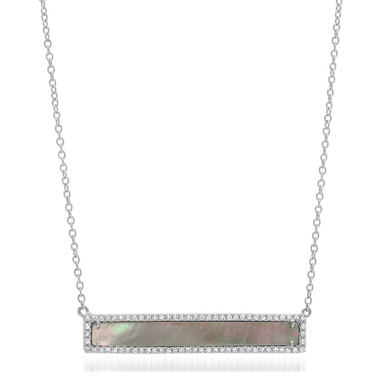 Diamond Black Mother of Pearl Bar Necklace