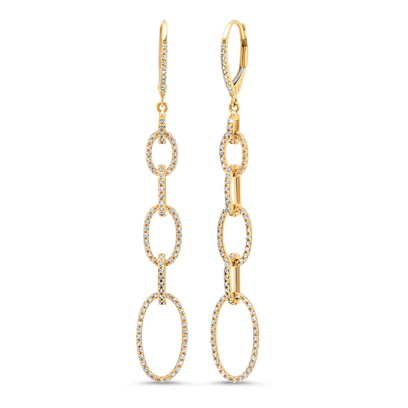 Diamond Chain Link Oval Earring