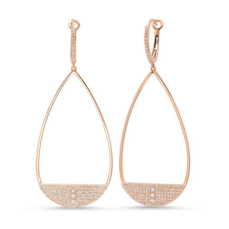 Diamond Teardrop Row Detail Earring