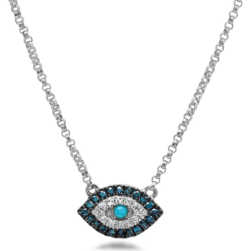 Diamond and Turquoise Evil Eye Necklace