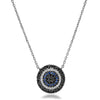 Black Diamond Sapphire and Diamond Disc Necklace
