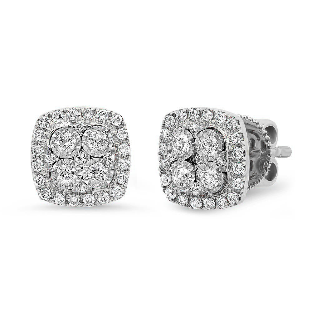 Diamond Cushion Studs