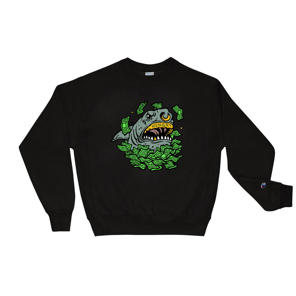 Money Hungry Street Sharks Champion Crewneck