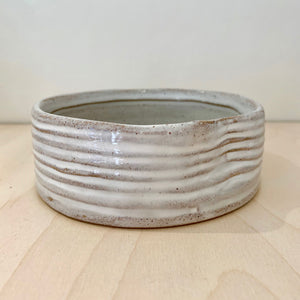 Small White Ribbed Bowl