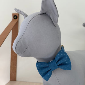 Blue Pin dot Cat Bowtie Collar