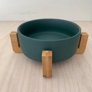 Small Green Ceramic Bowl on Stand