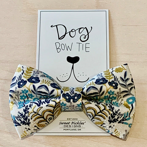 Gold Floral Dog Bow Tie