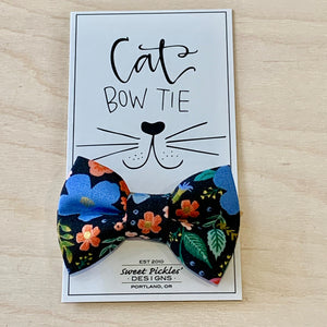Navy Floral Cat Bow Tie