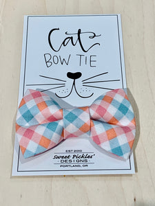 Pink/Green Check Cat Bow Tie