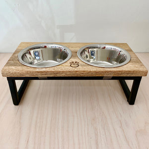 Wood & Stainless Steel Dual Feeder