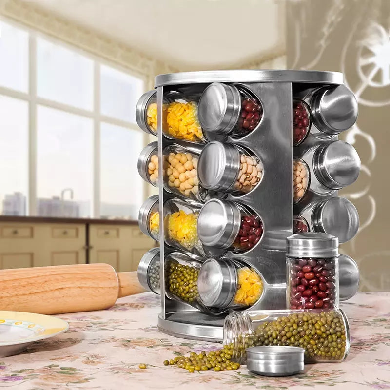 a3d4af599443 Countertop Spice Rack | Masala Box Stainless Steel Seasoning Storage  Organization Spice Carousel Tower for Kitchen Set of 16 Jar