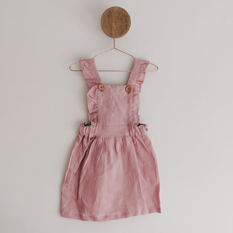 """Dusty Rose"" Linen Pinafore with Liberty of London Fabric"