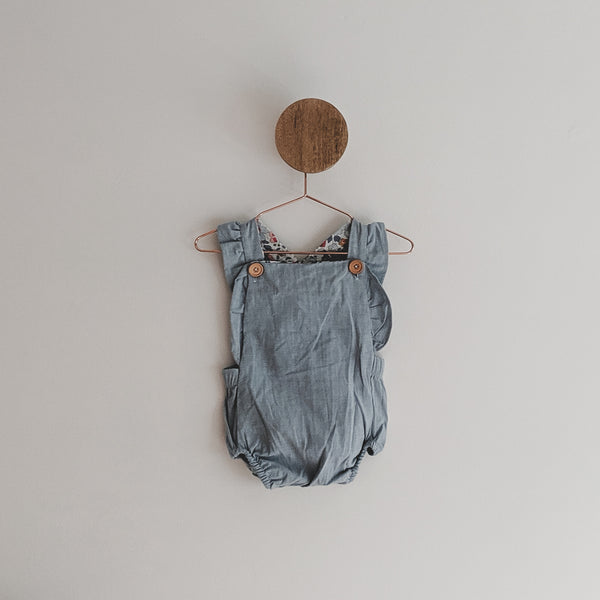 """Chambray"" Romper with Liberty of London Fabric"