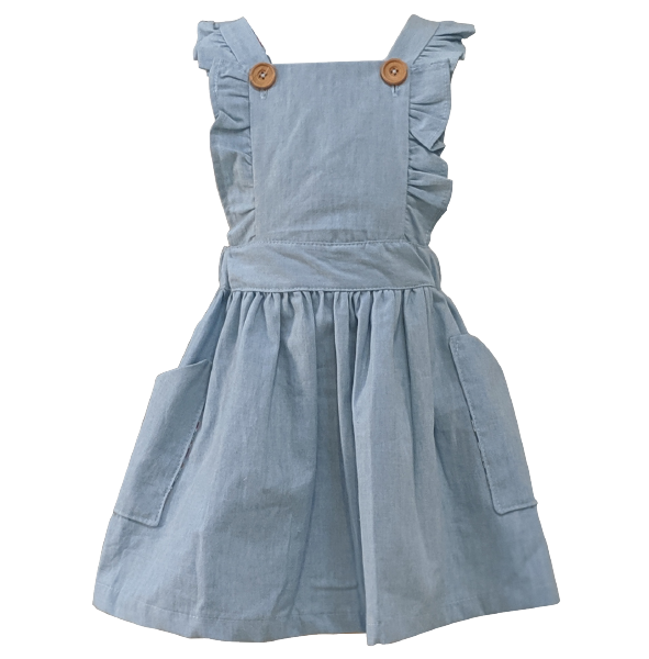 """Chambray"" Cotton Pinafore with Liberty of London Fabric"