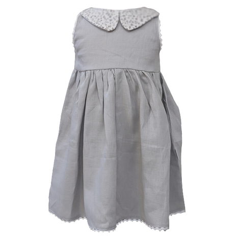 "Liberty of London Peter Pan Collar Dress - ""Stone Grey"""