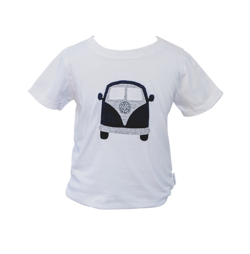 Organic White & Navy Kombi Van T-shirt (short sleeved)