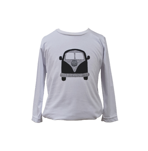 Organic White & Navy Kombi Van T-shirt (Long sleeved)