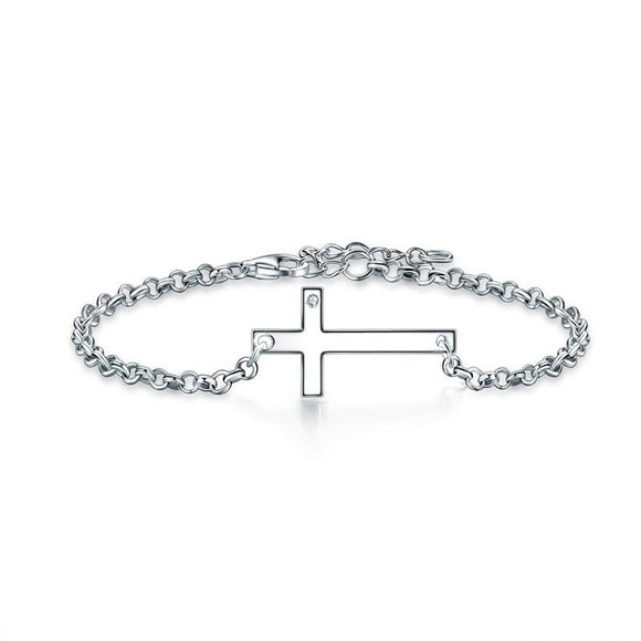 Solid 925 Sterling Silver Bracelet Cross Religious and Wedding Gift Classic
