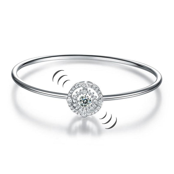 Halo Dancing Stone Bangle Solid 925 Sterling Silver for Women