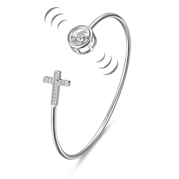 Dancing Stone Cross Bangle Solid 925 Sterling Silver Bridal Wedding
