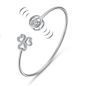 Dancing Stone 3 Hearts Flower Bangle Solid 925 Sterling Silver Bridal Wedding