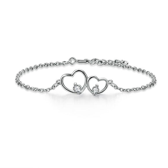 Solid 925 Sterling Silver Bracelet Double Heart Bridesmaid Wedding Gift