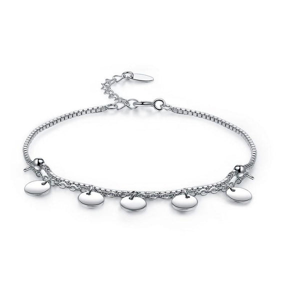 Solid 925 Sterling Silver Bracelet Dangle Circle Fashion Bridesmaid Wedding Gift
