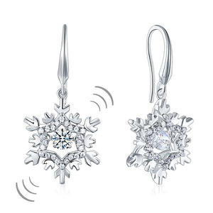 Classic Dancing Stone Dangle Drop Earrings Snowflake 925 Sterling Silver Wedding Gift
