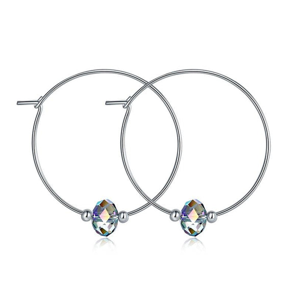 Top Quality 925 Sterling Silver Hoop Earrings AB Austrian Crystal Party Birthday Gift
