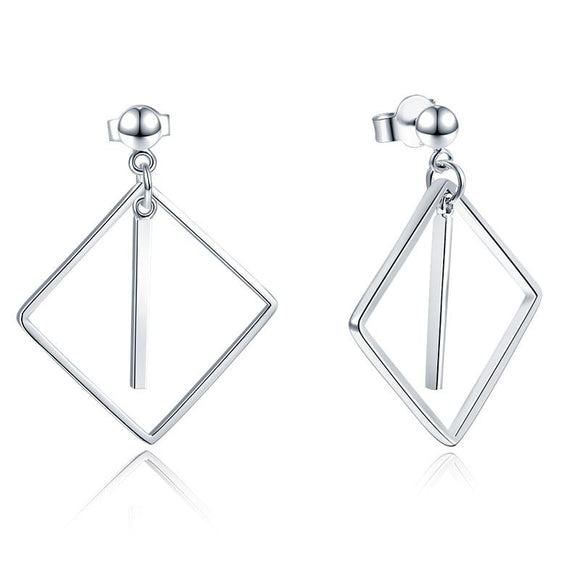 925 Sterling Silver Earrings Dangle Square Fashion Stylish Jewelry
