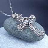 Dancing Stone Heart Cross Pendant Necklace 925 Sterling Silver